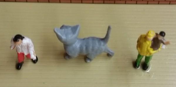 Deko Figur Katze Grau