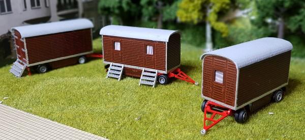 3 er Set 6 Meter Holzwagen